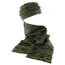 Bonnet echarpe vert en laine bouillie Mona BONNETS Léon montane