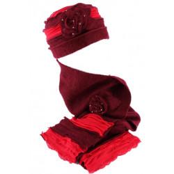 Bonnet echarpe rouge en laine bouillie Mona BONNETS Léon montane