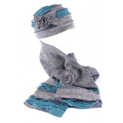 Bonnet echarpe gris bleu en laine bouillie Mona BONNETS Léon montane