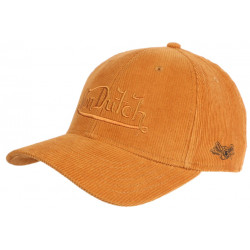 Casquette Von Dutch Orange en Velours Vintage Baseball Peter CASQUETTES VON DUTCH