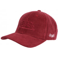 Casquette Von Dutch Rouge en Velours Vintage Baseball Peter CASQUETTES VON DUTCH