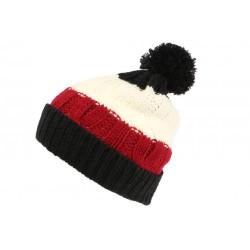 Bonnet Pompon Enfant Noir et Rouge Fashion Laine Snowy de 7 a 12 ans Bonnet Enfant Léon montane