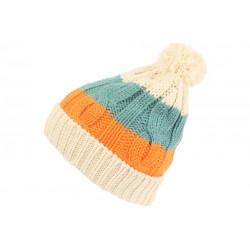 Bonnet Pompon Enfant Orange et Bleu Fashion Laine Snowy de 7 a 12 ans Bonnet Enfant Léon montane