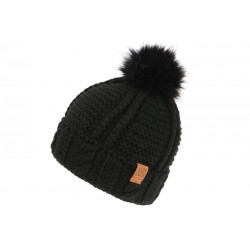Bonnet Von Dutch Pompon Fourrure Noire Laine Idea BONNETS VON DUTCH