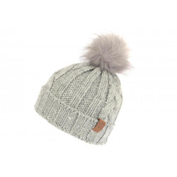 Bonnet Von Dutch Pompon Fourrure Gris Custom en Laine Think BONNETS VON DUTCH