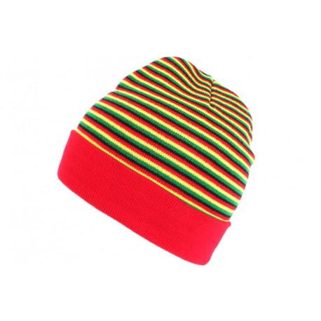 Bonnet court rouge jaune et vert rasta en laine Dutty BONNETS Nyls Création