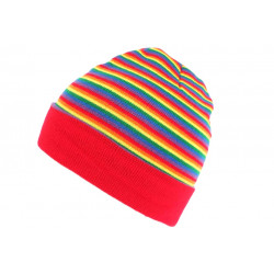 Bonnet Court Rouge Bleu et Jaune Fashion Multicolore Dutty BONNETS Nyls Création