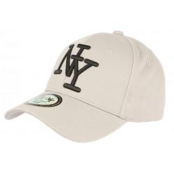 Casquette NY Gris Clair et Noire Fashion Visiere Baseball Stazky CASQUETTES Hip Hop Honour