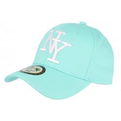 Casquette NY Bleu Aqua et Noire Fashion Visiere Baseball Stazky CASQUETTES Hip Hop Honour