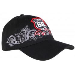 Casquette Baseball Route 66 Noire Baseball Biker CASQUETTES Nyls Création