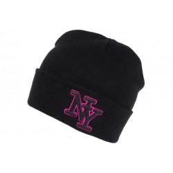 Bonnet NY Noir et Rose en Laine Broderie 3D Fashion Farzy BONNETS Hip Hop Honour
