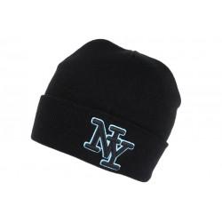 Bonnet NY Noir et Bleu Ciel en Laine Broderie 3D Fashion Farzy BONNETS Hip Hop Honour