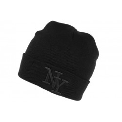 Bonnet New York Noir à Revers Tendance en Laine Douce Nevy BONNETS Hip Hop Honour