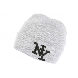 Bonnet New York Gris et Noir à Revers Fashion en Laine Douce Nevy BONNETS Hip Hop Honour