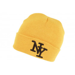Bonnet New York Jaune et Noir à Revers Fashion en Laine Douce Nevy BONNETS Hip Hop Honour