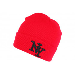 Bonnet New York Rouge et Noir à Revers Fashion en Laine Douce Nevy BONNETS Hip Hop Honour