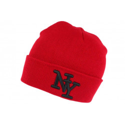 Bonnet New York Rouge Bordeaux à Revers Tendance en Laine Douce Nevy BONNETS Hip Hop Honour