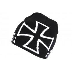 Bonnet croix de Malte Noir et Blanc Look Motard Biker BONNETS Nyls Création