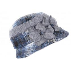 Beret Chapeau Femme Laine Bleue et Grise Retro Bonnet Hiver Lyara CHAPEAUX Léon montane