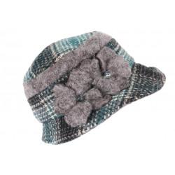 Beret Chapeau Femme Vert et Grise Retro Bonnet Feutre Hiver Lyara CHAPEAUX Léon montane