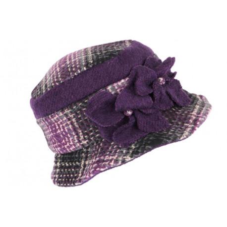 Beret Chapeau Femme Violet et Gris Vintage Bonnet Feutre Hiver Lyara CHAPEAUX Léon montane