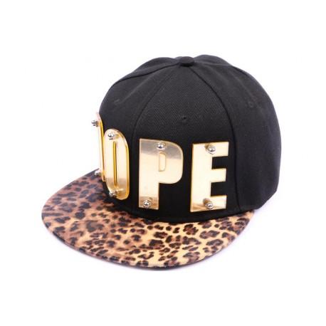Casquette Snapback JBB Couture Noire DOPE or, visière léopard