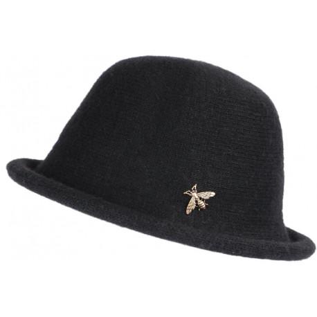 Chapeau Laine Femme Noir Hiver Classe Chaud Design Beret Cloche Apis CHAPEAUX Léon montane