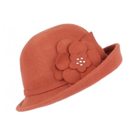 Chapeau Feutre Femme Orange Rouille Mode et Classe en laine Quyns CHAPEAUX Léon montane