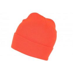 Bonnet Orange Fluo en Laine Fashion et Chaud avec Revers Eric BONNETS Nyls Création
