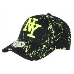 Casquette NY Jaune Fluo et Noire Style Tags Streetwear Baseball Paynter CASQUETTES Hip Hop Honour