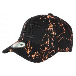 Casquette NY Orange et Noire look Tags Streetwear Baseball Paynter CASQUETTES Hip Hop Honour