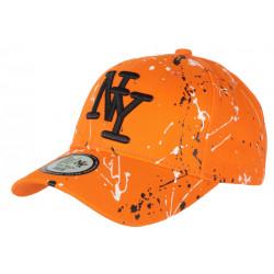 Casquette NY Orange Noire et Blanche look Tags Streetwear Baseball Paynter CASQUETTES Hip Hop Honour