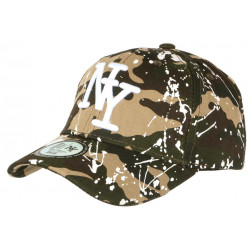 Casquette NY Camouflage Verte et Blanche look Tags Streetwear Baseball Paynter CASQUETTES Hip Hop Honour