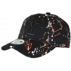 Casquette NY Orange Blanche et Noire style Tags Streetwear Baseball Paynter CASQUETTES Hip Hop Honour
