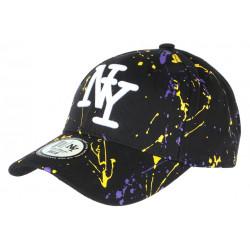 Casquette NY Violette Jaune et Noire Look Original Tags Streetwear Baseball Paynter CASQUETTES Hip Hop Honour