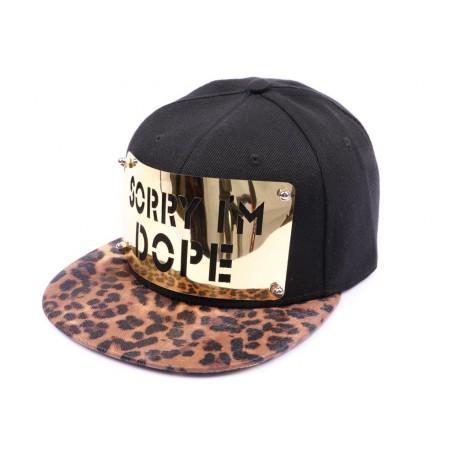Casquette Snapback JBB Couture Noire, Sorry I'm DOPE doré, visière léopard