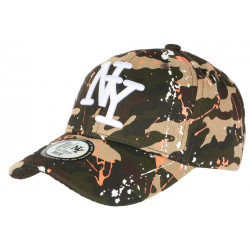 Casquette NY Militaire Orange et Blanche look Tags Streetwear Baseball Paynter CASQUETTES Hip Hop Honour