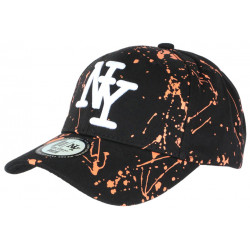 Casquette NY Orange et Noire Design Original Tags Baseball Paynter CASQUETTES Hip Hop Honour