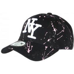 Casquette NY Rose et Noire Mode Originale Tags Streetwear Baseball Paynter CASQUETTES Hip Hop Honour