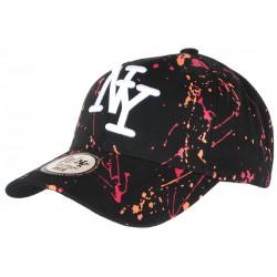 Casquette NY Rouge Orange et Noire Look Original Tags Baseball Paynter CASQUETTES Hip Hop Honour