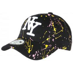 Casquette NY Jaune Rose et Noire Mode Originale Tags Baseball Paynter CASQUETTES Hip Hop Honour