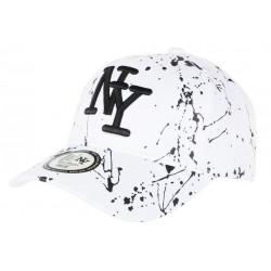 Casquette NY Blanche et Noire Mode Originale Fashion Tags Baseball Paynter CASQUETTES Hip Hop Honour