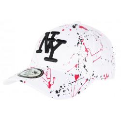 Casquette NY Blanche et Rouge Desgin Original Fashion Tags Baseball Paynter CASQUETTES Hip Hop Honour