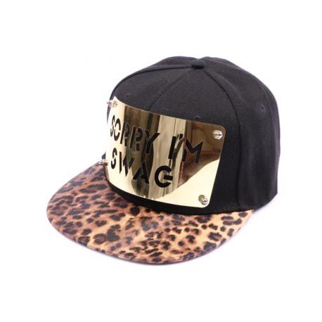 Casquette Snapback JBB Couture Noire SORRY I'M SWAG, visière léopard