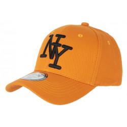 Casquette NY Orange et Noire Tendance Visiere Baseball Stazky CASQUETTES Hip Hop Honour