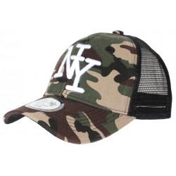Casquette filet militaire verte et marron Trucker NY Blanc Baseball CASQUETTES Hip Hop Honour