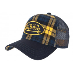 Casquette Von Dutch Bleue et Jaune Carreaux Retro Trucker Baseball Car CASQUETTES VON DUTCH