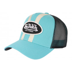 Casquette Von Dutch Bleu Ciel et Beige Trucker Baseball Fashion Stripe CASQUETTES VON DUTCH
