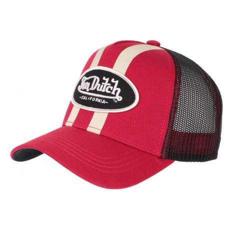 Casquette Von Dutch Rouge et Beige Trucker Baseball Classe Stripe CASQUETTES VON DUTCH