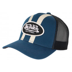 Casquette Von Dutch Bleu Marine et Beige Filet Baseball Tendance Stripe CASQUETTES VON DUTCH